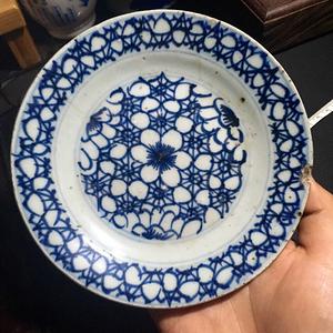 清 康熙青花线描冰梅纹盘