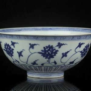 13清早期青花缠枝纹大碗