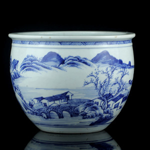 32清早期青花通景山水纹圈缸