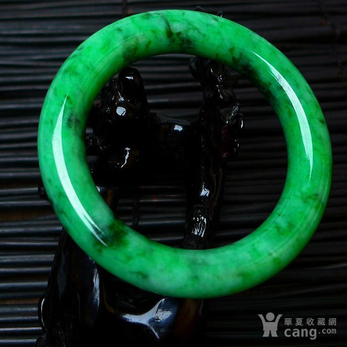 冰润A货翡翠满阳绿大圆条手镯收藏珍品图3