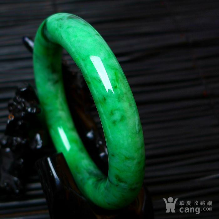 冰润A货翡翠满阳绿大圆条手镯收藏珍品图5