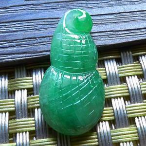 缅甸天然A货翡翠老坑种满绿招财福瓜吊坠