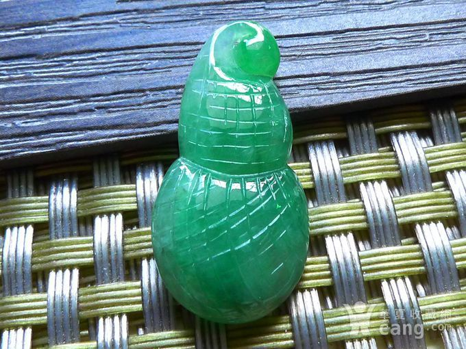 缅甸天然A货翡翠老坑种满绿招财福瓜吊坠图1