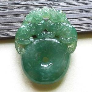 缅甸天然A货翡翠老坑种满色绿色招财貔貅吊坠