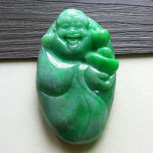 缅甸天然A货翡翠老坑种完美满色绿色好种招财佛公吊坠