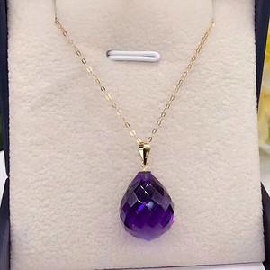 天然紫水晶吊坠 18k金扣和链