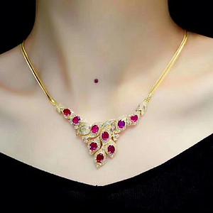 天然缅甸红宝石项链 假一赔万