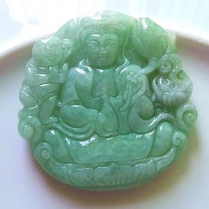 缅甸天然A货翡翠老坑种满色绿色高档招财送子观音吊坠