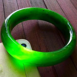 天然A货碧玉老坑种满色绿色高档好种招财手镯