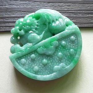 缅甸天然A货翡翠老坑种满色绿色高档招财如虎添翼吊坠