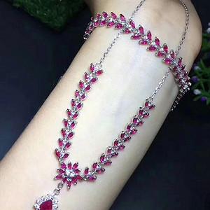 天然缅甸红宝石项链手链套装 假一赔万 性价比超高