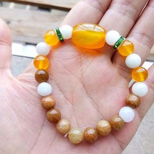 翡翠手链a货,手镯冰糯种三彩油青珠子,玛瑙蜜蜡绿松宝石,首饰