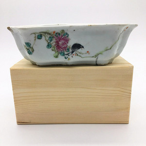 民国 粉彩喜鹊花卉水仙盆 文人瓷