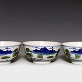藏淘阁三个民国时期山水碗CN02