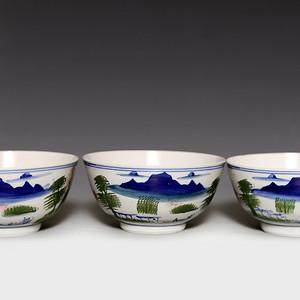 藏淘阁民国完美山水碗三个CN02