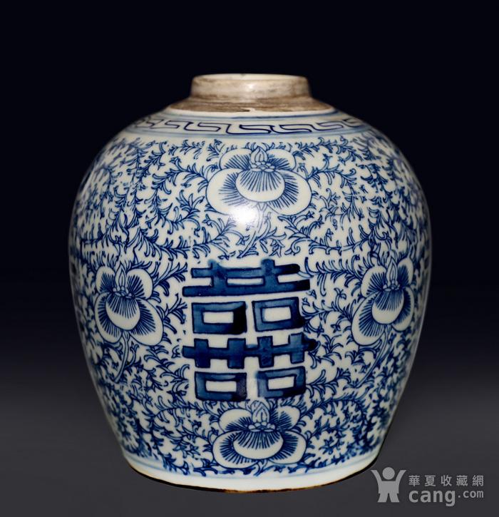 藏淘阁民国双喜青花罐无底价CN04图1