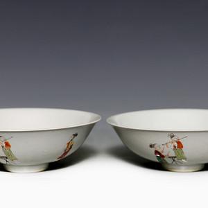 藏淘阁清五彩人物小碗一对美品CN05