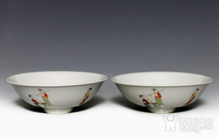 藏淘阁清五彩人物小碗一对美品CN05图1