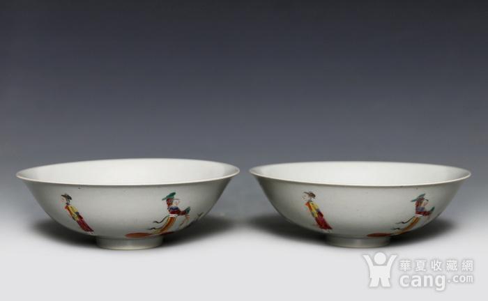 藏淘阁清五彩人物小碗一对美品CN05图2