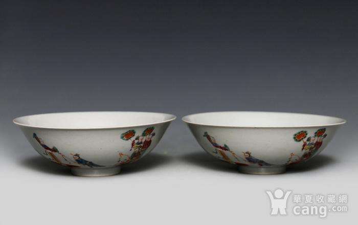 藏淘阁清五彩人物小碗一对美品CN05图3