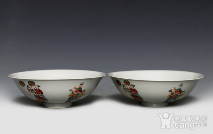 藏淘阁清五彩人物小碗一对美品CN05图4