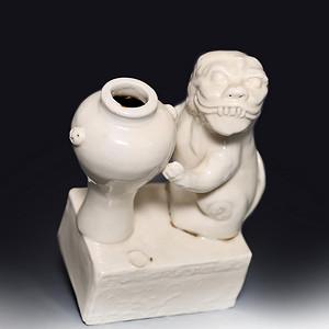 藏淘阁清代时期德化窑狮子油灯专家已经鉴定CN06