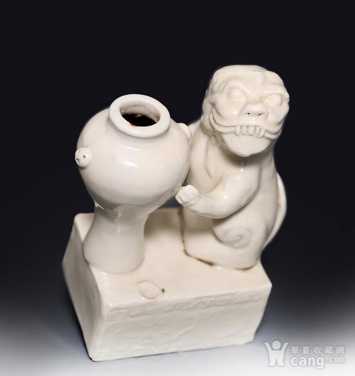 藏淘阁清代时期德化窑狮子油灯专家已经鉴定CN06图1
