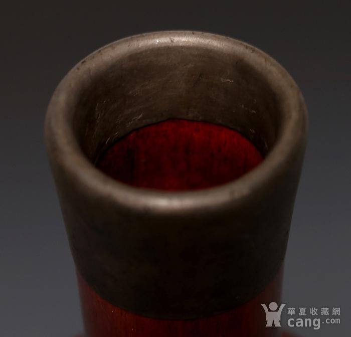 藏淘阁清末无款锡口红釉赏瓶CN09图6