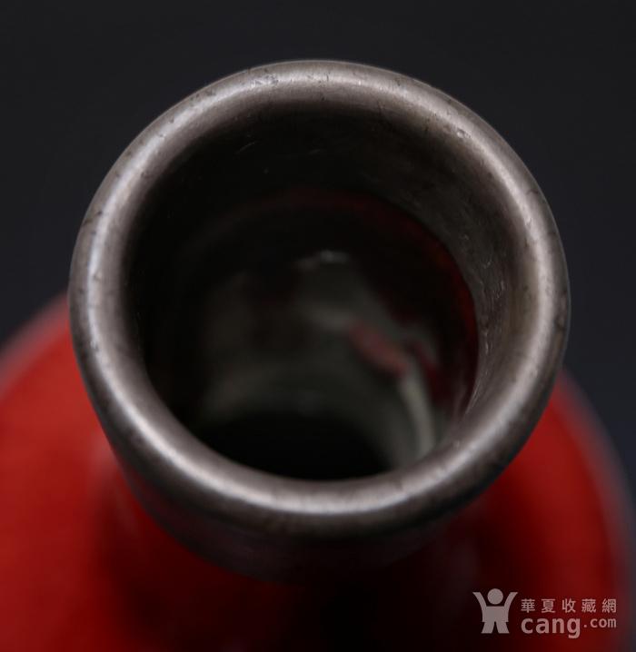 藏淘阁清末无款锡口红釉赏瓶CN09图5