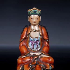 藏淘阁清中期陶瓷粉彩菩萨观音像CN12
