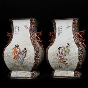 藏淘阁民国王太凡精品八仙大赏瓶一对CN23