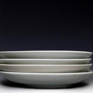 藏淘阁清康熙白釉素盘四个CN24