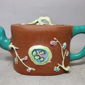 清代紫砂加彩堆塑执壶