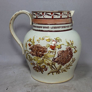 维多利亚时期人物花卉绘画奶壶