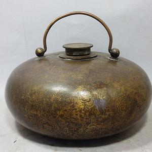清代铜措金花卉暖手炉