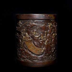 藏淘阁宣德款手刻洒金八仙献寿紫铜笔筒CN30