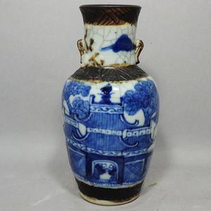 清代哥釉青花绘画赏瓶