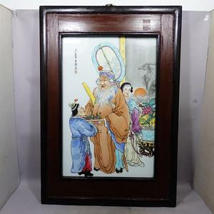 民国粉彩大富大贵人物绘画瓷板