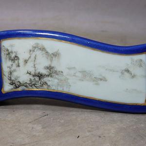 雍正霁蓝墨彩山水开窗绘画墨床