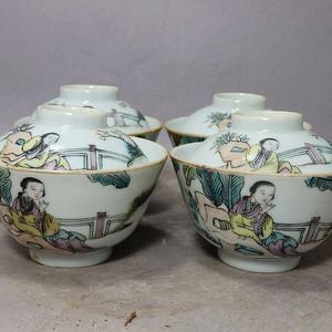 同治粉彩侍女人物绘画茶盖碗四个