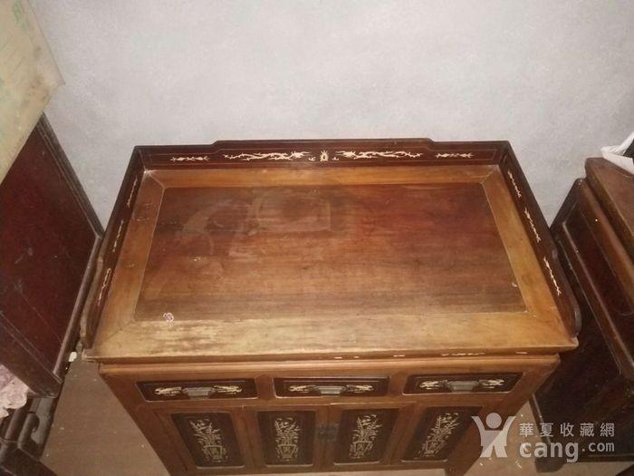 花梨木嵌骨老茶桌图2
