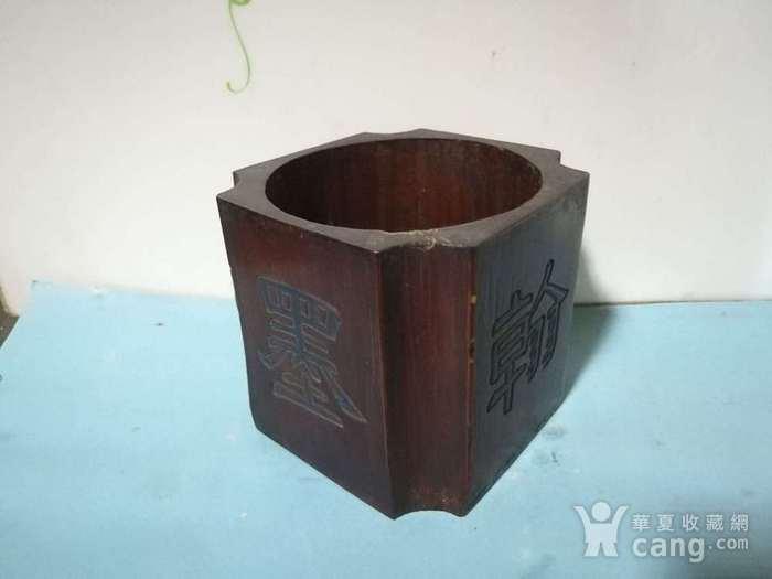 清代竹雕四方倭角笔筒图1
