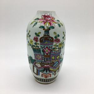 民国 硬粉彩细路博古纹瓶
