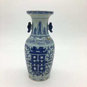 清 道光 青花喜字嫁妆瓶