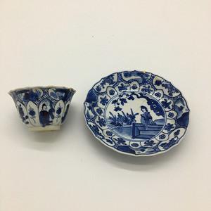 清 康熙 青花人物侍女纹茶具 一套有修