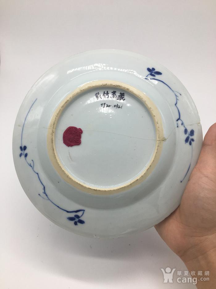 清 康熙青花翠毛蓝发色植物花卉图纹盘图4