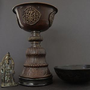 清代  西藏铜圣杯,六字真言铜钵,小造像
