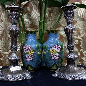 19世纪 纯银烛台一对 20世纪 掐丝珐琅瓶一对