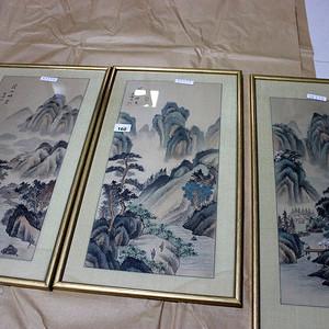 清 石舟 山水绢画三幅