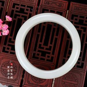 和田玉手镯天然白玉女款玉镯苏工平安镯玉石 内径59mm